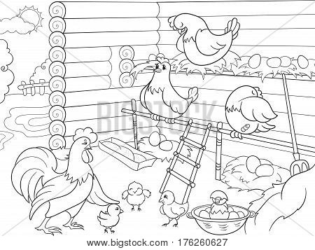 Interior and life of birds in the chicken coop coloring for children cartoon vector illustration. Zentangle style. Black and white