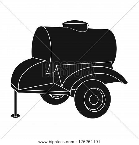 Black trailer on wheels with yellow barrel. Agricultural machinery for watering plants.Agricultural Machinery single icon in black style vector symbol stock web illustration.