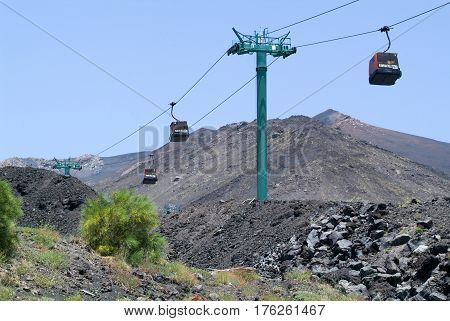 The Cableway Of Mount Etna On Sicily