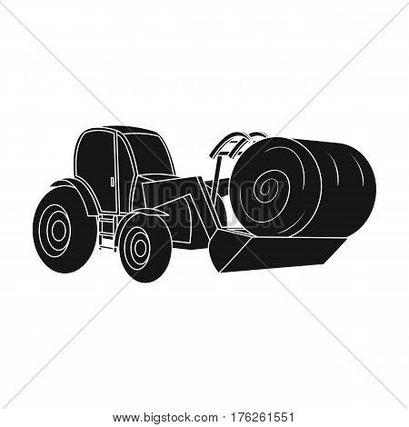 Orange tractor with a ladle transporting hay bale. Agricultural vehicles.Agricultural Machinery single icon in black style vector symbol stock web illustration.