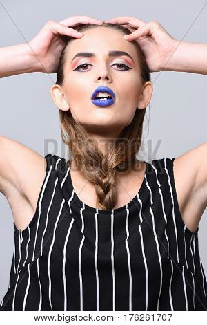 Pretty Girl With Sexy Blue Lips And Braid