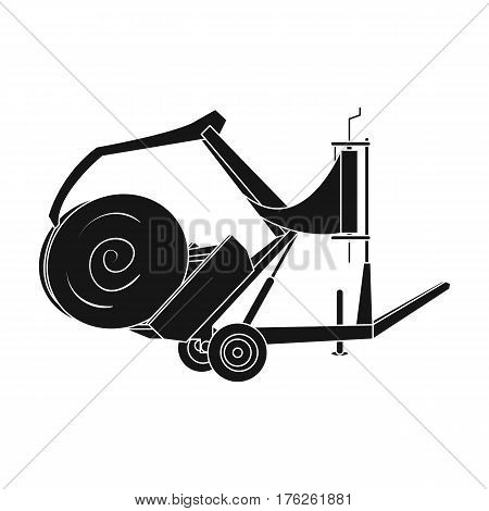 Modern agricultural machinery for  of hay and rolling circles.Agricultural Machinery single icon in black style vector symbol stock web illustration.