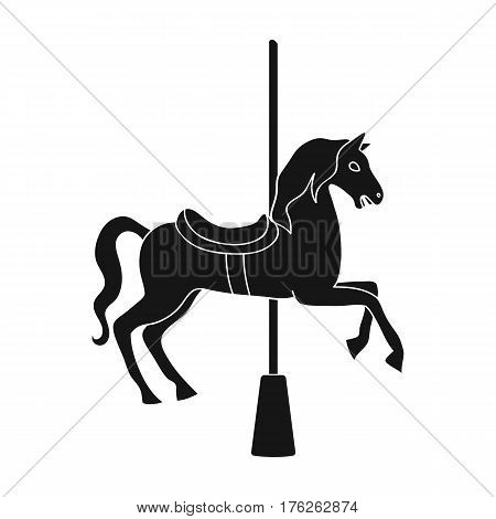 Carousel for children. Horse on the pole for riding.Amusement park single icon in black style vector symbol stock web illustration.