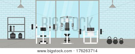 fitness gym interior template with sports equipments and cardio equipment, exercise bike, treadmills, elliptical trainers, . Fitness concept with sport Club in flat style. Blue silhouette