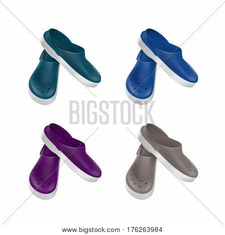 Vector Set of Colored Gray Blue Green Purple Medical Footwear Clogs Isolated on White Background