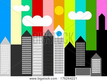vector house silhouette skyscraper windows building roof