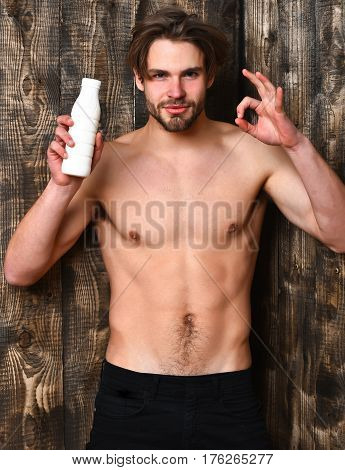 Caucasian Bearded Sexy Macho Man Holding Kefir Or Yogurt