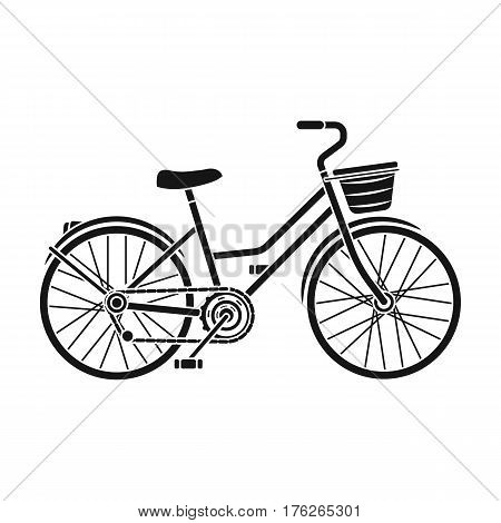 A red bicycle with wheels and basket. The eco-friendly transport.Different Bicycle single icon in black style vector symbol stock web illustration.