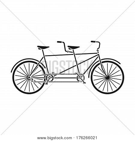 Tandem bike.Pleasure bicycle for two. Double bicycle. The ecological mode of transport.Different Bicycle single icon in black style vector symbol stock web illustration.