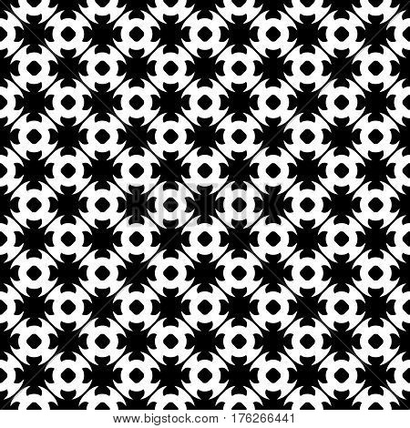 Vector monochrome seamless pattern. Abstract black & white geometric texture in oriental style, repeat tiles. Endless ornamental background, design for prints decoration, textile, clothes, furniture, fabric, cloth