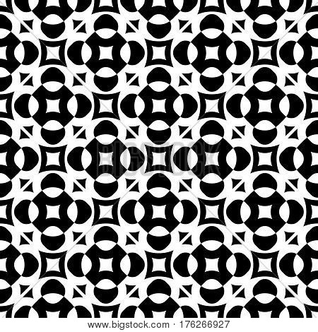 Vector seamless texture, monochrome geometric pattern with simple rounded figures, perforated squares, circles, crosses, triangles. Diagonal grid, repeat tiles. Contrast design for prints, decoration, textile, fabric, clothes, digital,  web
