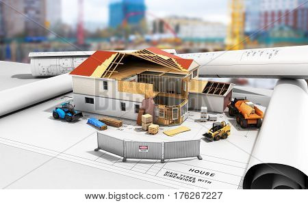 Construction Concept House In Building Process Three-dimensional Image 3D Render Building Background