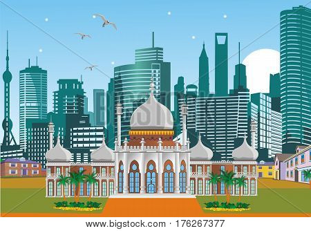Arabic Palace on the background of the metropolis. Palma. Weekend in Dubai. Vector illustration