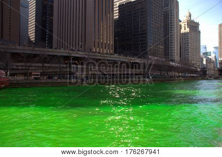 Green Chicago River for Saint Patrick's Day