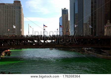 drawbridge over the Chicago River dying green for Saint Patrick's Day