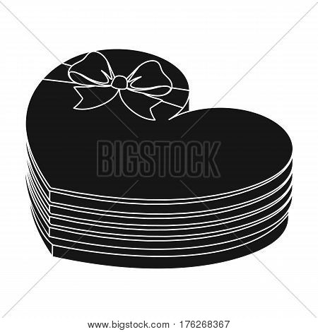 A box in the form of a red heart. A gift to a loved one.Gifts and Certificates single icon in black style vector symbol stock web illustration.