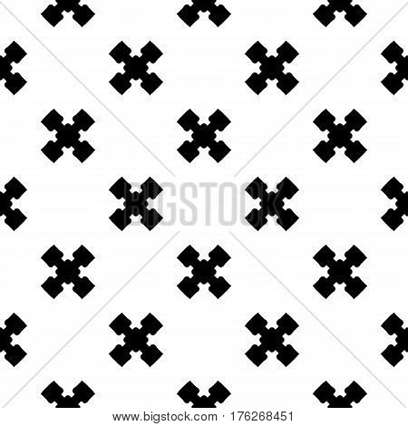Vector monochrome minimalist texture, simple geometric pattern. Black staggered crosses on white background. Stylish abstract repeat backdrop. Design element for decoration, prints, fabric, clothes, cover, textile, furniture
