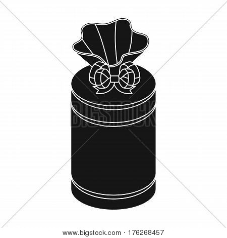 Gift wrap in the form of a huge candy in a wrapper.Gifts and Certificates single icon in black style vector symbol stock web illustration.