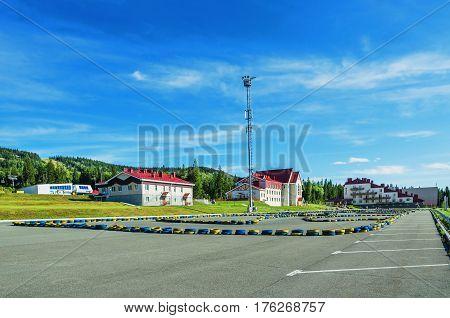 URALEC RUSSIA - AUGUST 06 2016: Infrastructure of ski resort