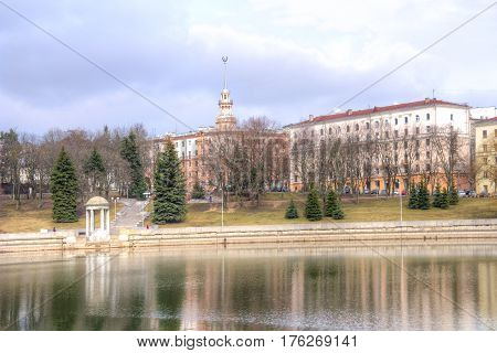 Minsk. Residential houses on the riverside of the river Svislach in the city center