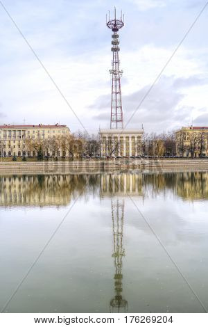BELORUSSIA MINSK - March 11.2017: Television Centre and televisional tower on the riverside Svislach