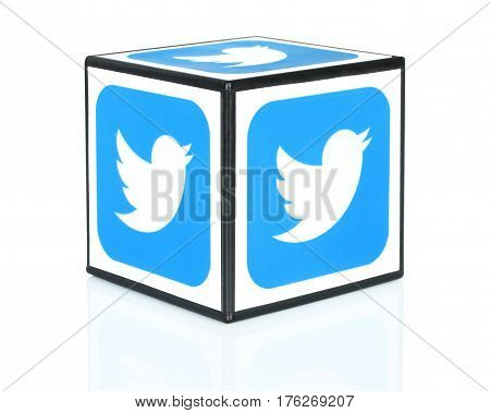 Kiev Ukraine - September 30 2015: Cube with Twitter icons printed on paper. Twitter is a well-known social networking and news service