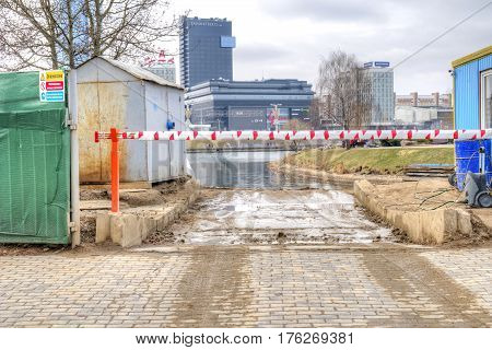 BELORUSSIA MINSK - March 11.2017: Building site. Reconstruction of the riverside river Svislach