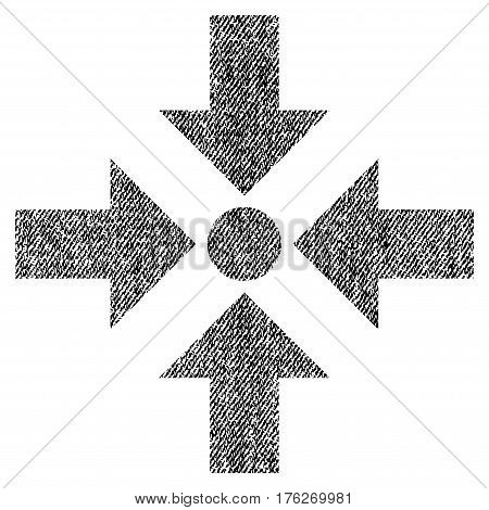 Shrink Arrows vector textured icon for overlay watermark stamps. Fabric black vectorized texture. Symbol with scratched design. Rubber seal stamp with fiber textile structure.