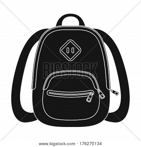 Blue school bag. A school bag for a book and notebooks.School And Education single icon in black style vector symbol stock web illustration.