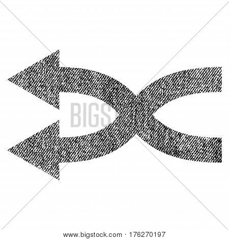 Shuffle Arrows Left vector textured icon for overlay watermark stamps. Fabric black vectorized texture. Symbol with dirty design. Rubber seal stamp with fiber textile structure.