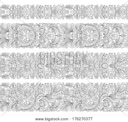 Set of seamless vintage border brushes templates. Baroque floral elements for frames design and page decorations. Black line.