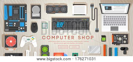 Computer shop. Various computer parts are on the table. Web flat vector banner.