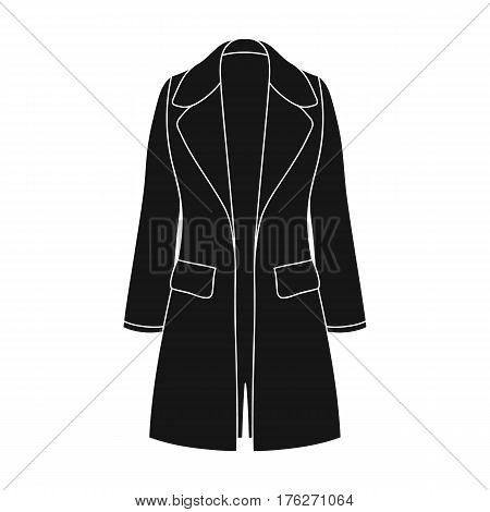Blue female restrained coat buttoned. Women s outerwear.Women clothing single icon in black style vector symbol stock web illustration.