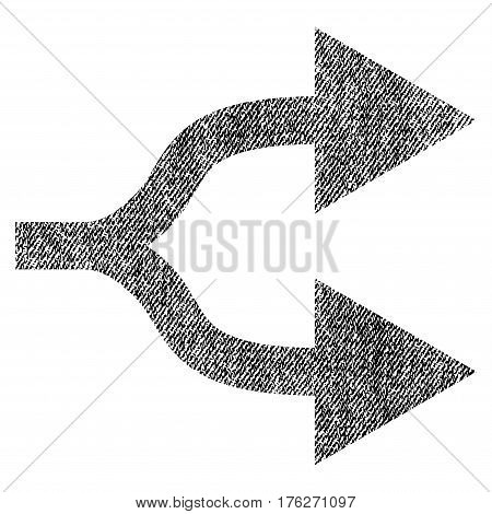 Split Arrows Right vector textured icon for overlay watermark stamps. Fabric black vectorized texture. Symbol with scratched design. Rubber seal stamp with fiber textile structure.