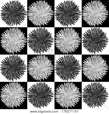 Black and white seamless pattern with translucent chrysanthemums on a chessboard background