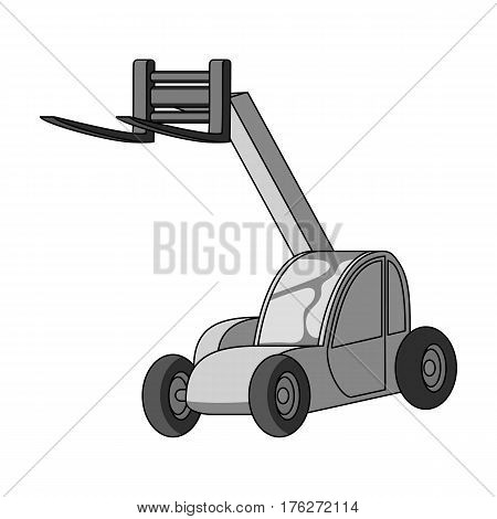 The car lift for loading cargo into the truck for transportation.Agricultural Machinery single icon in monochrome style vector symbol stock web illustration.