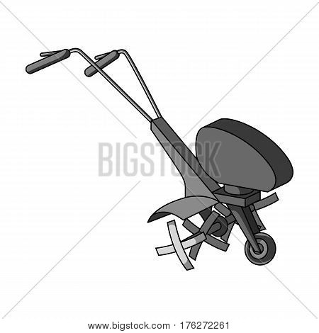 Mowers for cutting grass and lawn. Agricultural machinery for the court.Agricultural Machinery single icon in monochrome style vector symbol stock web illustration.