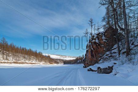 Winter landscape on the Chulman River, Russia,South Yakutia