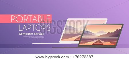 Web flat vector banner on the theme: laptops, ultrabooks.