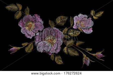 Wild pink rose embroidery crewel. Fashion closing decoration dog rose delicate white vintage color. Blooming flower blossom vector illustration