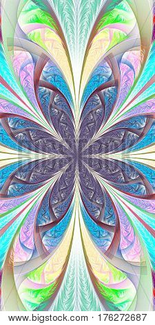 Beautiful multicolored fractal flower. Collection - frosty pattern.