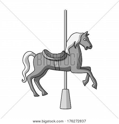 Carousel for children. Horse on the pole for riding.Amusement park single icon in monochrome style vector symbol stock web illustration.