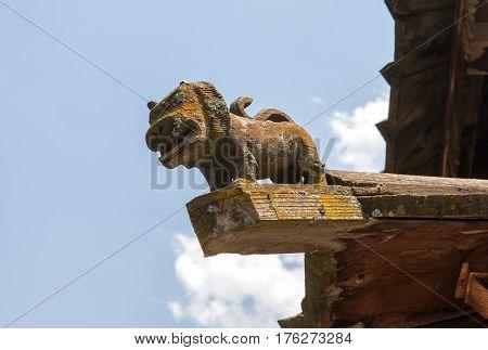 MANALI, INDIA.  Tripura Sundari Temple, the wooden statue of a lion on the roof. Naggar, district of Kullu in Himachal Pradesh, India.