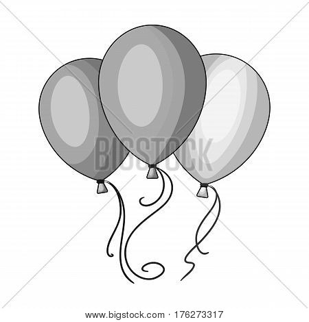 Blue pink and yellow balloons for children. Children s toys in the amusement park.Amusement park single icon in monochrome style vector symbol stock web illustration.