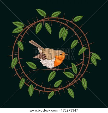 Vector embroidery Blackthorn branches and leaves frame with robin bird. Illustrations vintage design