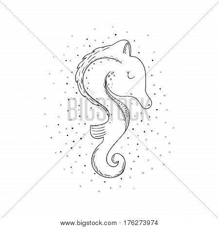 Cute hand drawn sea horse in cartoon style. vector print.