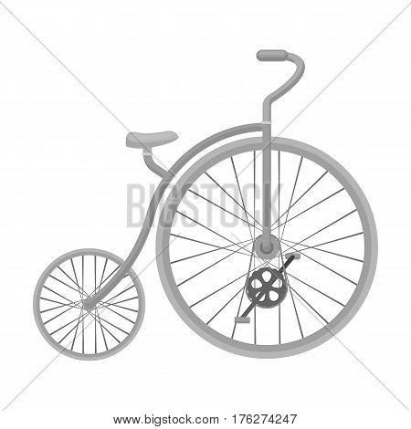 Vintage bicycle. The first bicycle. Huge and small wheel.Different Bicycle single icon in monochrome style vector symbol stock web illustration.