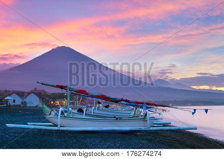 Volcano, Ocean, Fishing Boats. Bali