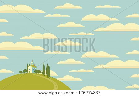 spring landscape with Village on the hill and sky with clouds