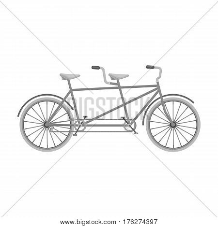 Tandem bike.Pleasure bicycle for two. Double bicycle. The ecological mode of transport.Different Bicycle single icon in monochrome style vector symbol stock web illustration.